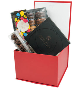 Red Gift Box - Assorted Chocolate Box, 9pc + Dark Almond Clusters, 6pc + Macarons... - Thierry-ATLAN