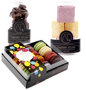 Box1 - Macarons - The Jam and Dairy Free Box, 12pc+ Assorted Fruit + Dark Almond... - Thierry-ATLAN