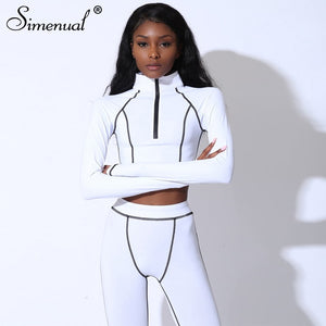 2 Piece Sporty Zipper Tracksuits W/ Long Sleeve Top And Leggings