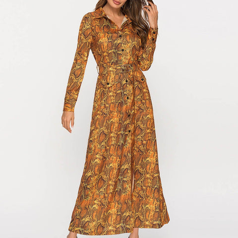 Casual Long Sleeve V-Neck Printed Fashion Dress