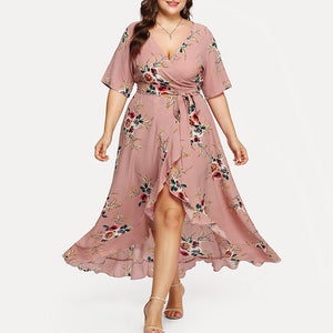 Plus Size V-Neck Boho Flower Dress