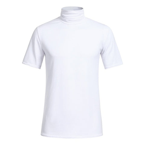 Solid Color Short Sleeve Turtleneck Shirt