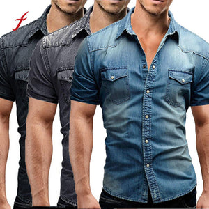 Size M-3XL Men's Casual Slim Fit Button Shirt With Pocket