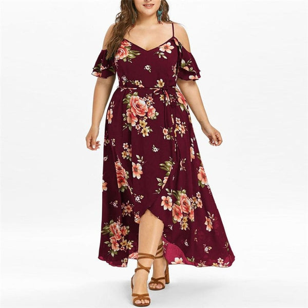 Plus Size Short Sleeve Cold Shoulder Flower Print Dress