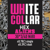 White Collar Coils Hex Aliens | Tri-Core 30-40 7 wraps