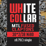 White Collar Coils MTL Fused Claptons | Dual-Core 30-38 6 wraps