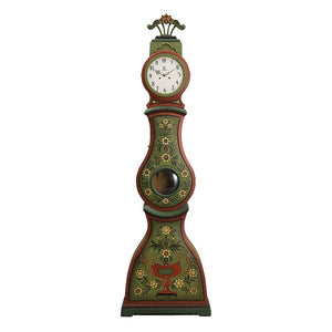 Green with carving 19th Century Mora clock