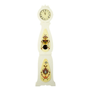Tall floral painted 19th Century mora clock