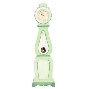 19th Century soft green painted mora clock