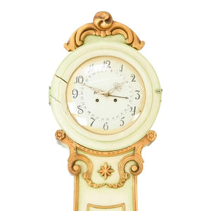 Fryksdall Mora clock in cream with carved detailing - face detail