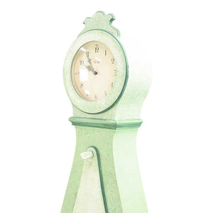 19th Century soft green painted mora clock - clock face
