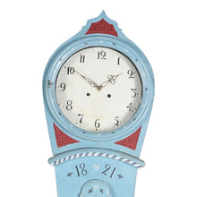 Blue painted Mora clock - face detail