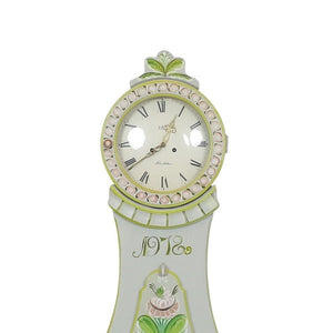 Grey with hand painted detailing 19th Century Mora clocks - face detail