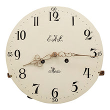 Mora clock in cream and gold paint - face detail