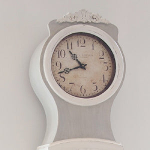 Reproduction Mora Clock: hand painted in grey with off-white highlights - face detail