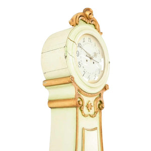 Fryksdall Mora clock in cream with carved detailing - side face detail