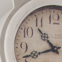Reproduction Mora Clock: hand painted in grey with off-white highlights - paint detail to face