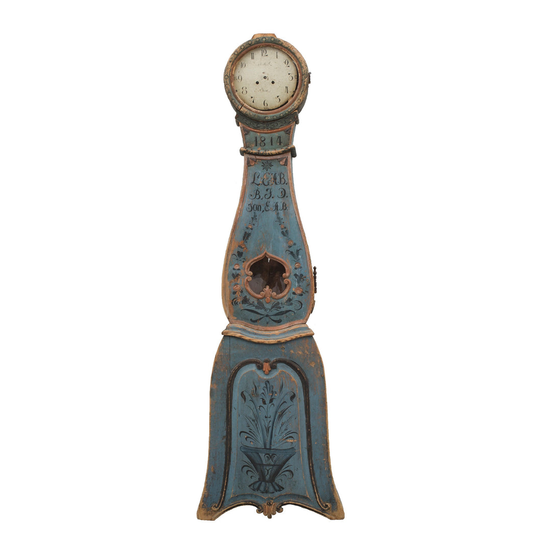 Mora clock from the 1700's in original blue paint