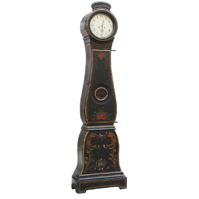 18th Century black floral painted Mora clock