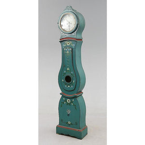 Side of turquoise Mora clock with painted flowers