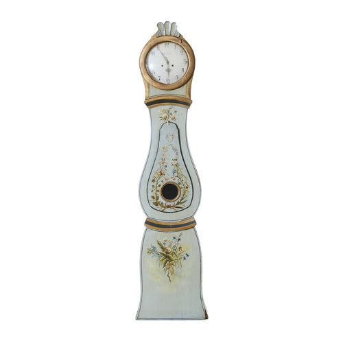 mora clock with rare floral details - blue