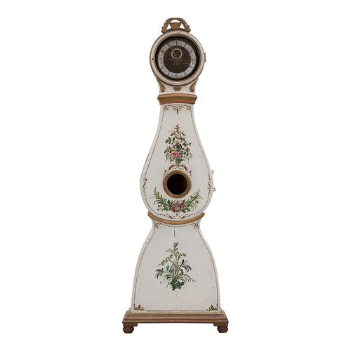 Mora clock mid 18th century painted flowers - front