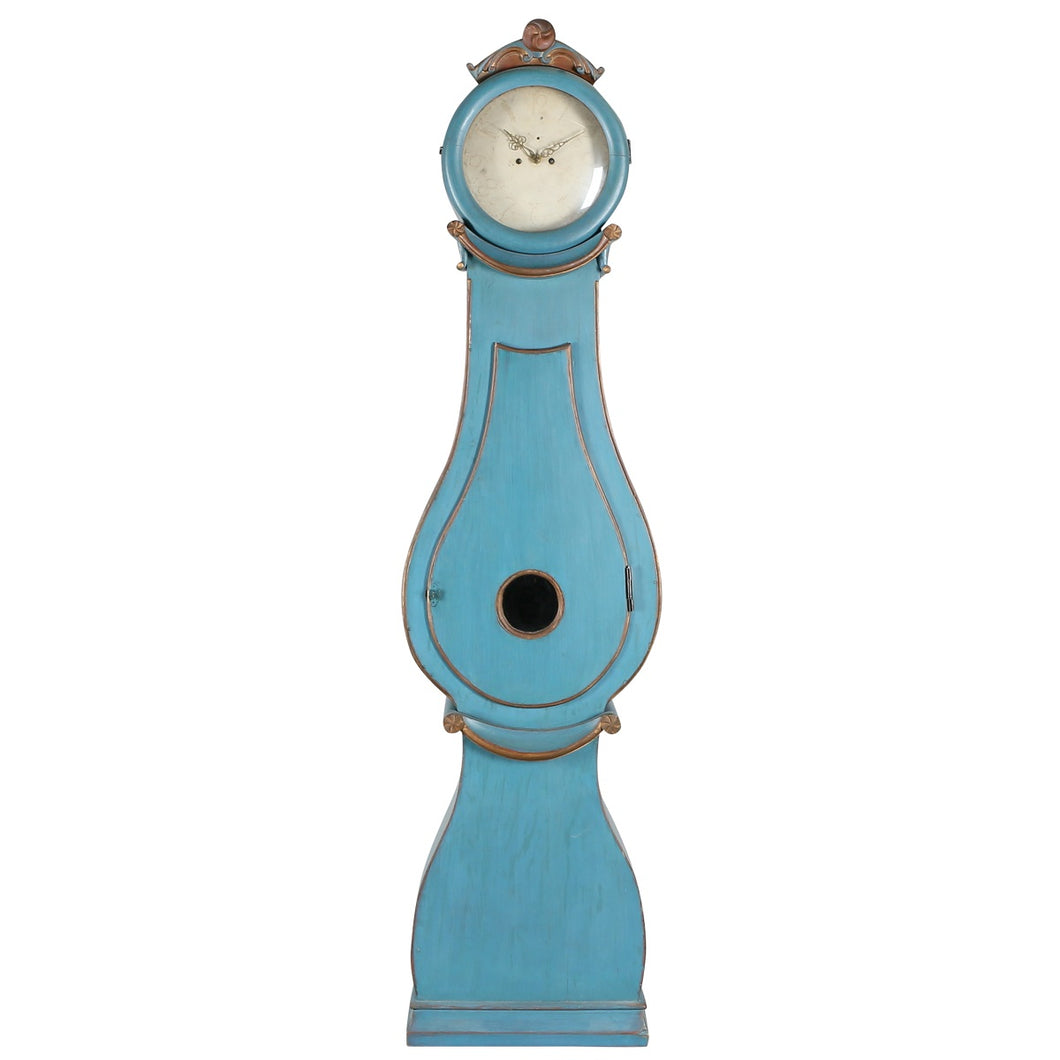 Mora Clock with wide shape in original blue paint