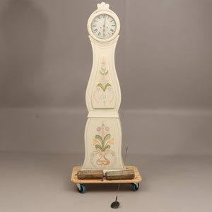 Mora clock with hand painted floral details and 2 weights