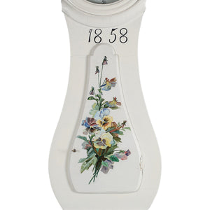 Mora clock body detail 1858 with hand painted flowers