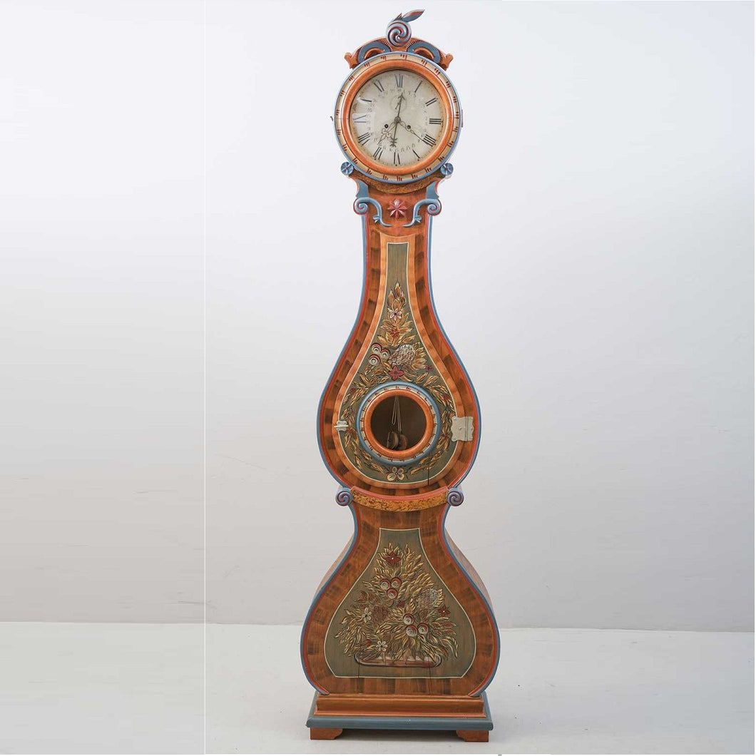 Mora clock with original hand painted ornate detail