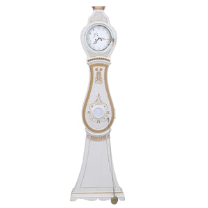 mora clock with carved details and crown in gold