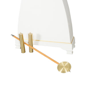 Mora Clock in white with gold - base detail