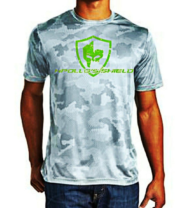 Hex Camo Short Sleeve Shirt - White/Neon Green Logo