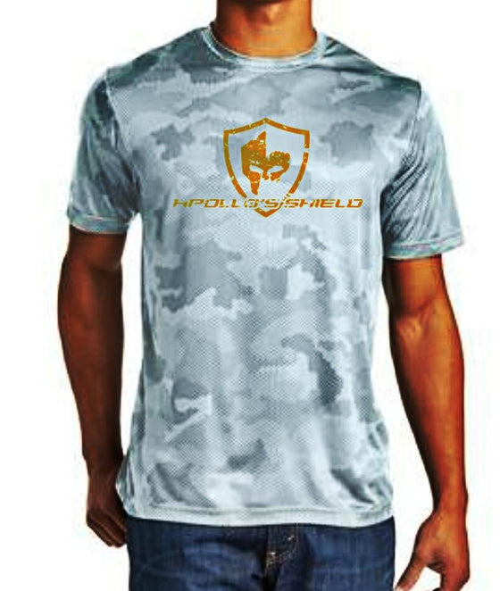 Hex Camo Short Sleeve Shirt - White/Orange Logo