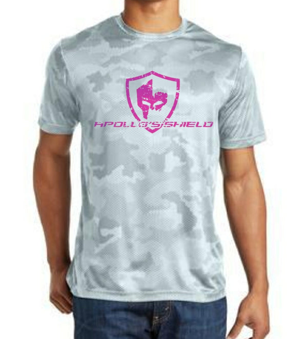 Hex Camo Short Sleeve Shirt - White/Pink Logo