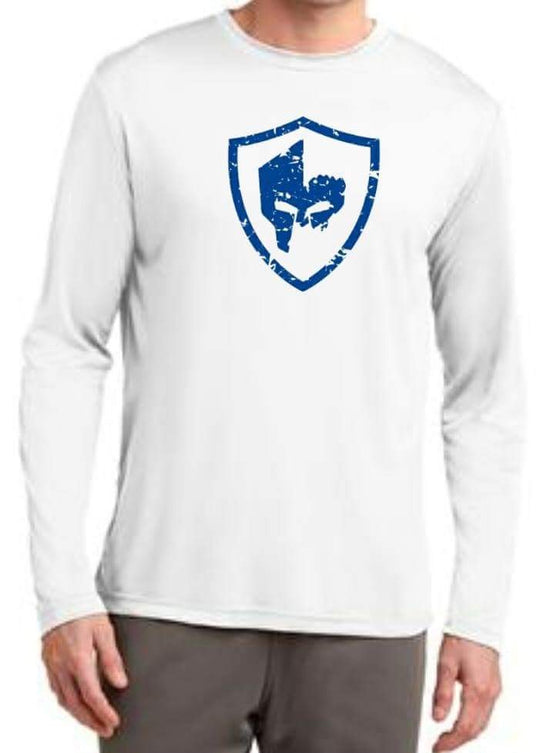 Long Sleeve Performance Shirt - White/Blue Logo