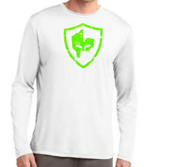 Long Sleeve Performance Shirt - White/Neon Green Logo