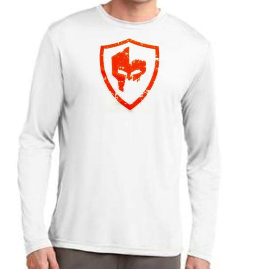 Long Sleeve Performance Shirt - White/Orange Logo