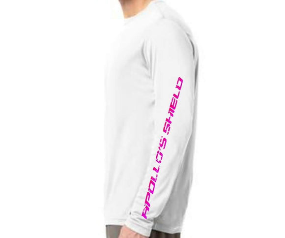 Long Sleeve Performance Shirt - White/Pink Logo