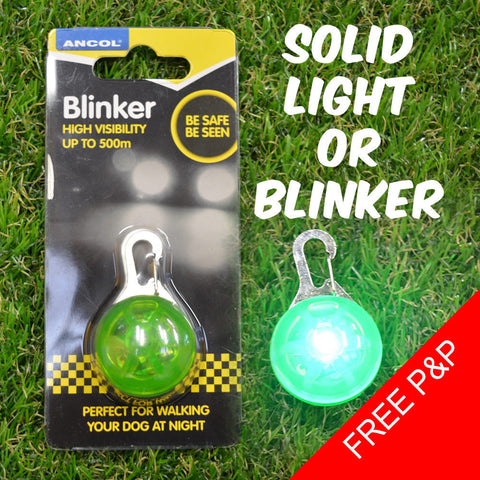 Ancol Hi-Visibility Blinker - Durable - Waterproof - Metal Clasp - 500m Vis