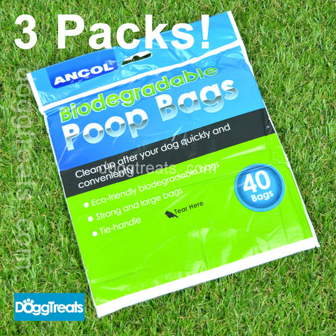Ancol Dog Poop Bags - 3 Packs of 40 (120) - Bio Degradable - Large Strong - Tie Handle