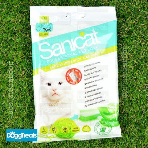 Sanicat Glove Mitt Hygienic Wipes for Cats - Helps Clean and Remove Odor - Aloe Vera