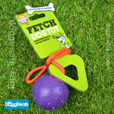 BALL WITH ROPE DOG TOY Medium or Large - Fetch Rubber Dog Toy and on a Rope by Good Boy