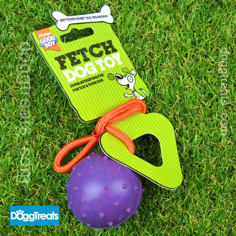 BALL WITH ROPE DOG TOY - Fetch Rubber Dog Toy and on a Rope by Good Boy