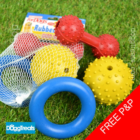 3 x Rubber Dog Toys Pack - Bone, Ring & Ball