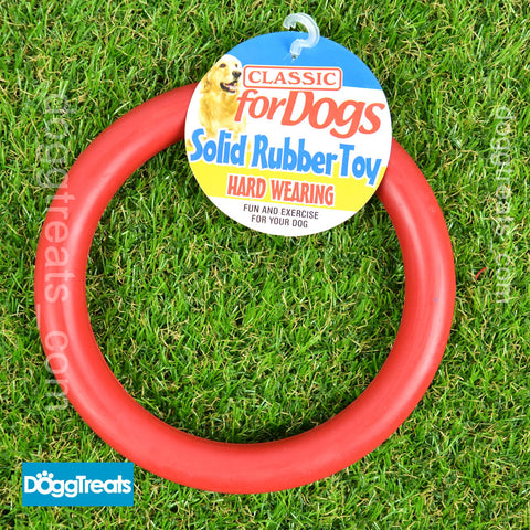 "Rubber Ring Dog Toy - Solid Large 7"" Inch Size - Chew Play Teeth Tug"