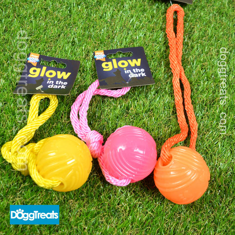 Glow in the Dark Ball with Rope Dog Toy - Good Boy