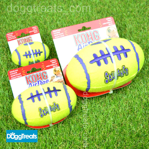 KONG Squeak Football Dog Toy - Air Squeaker Tennis Ball Texture Small Medium Large