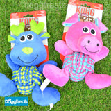 Kong Weave Knots Dog Toy - Pink Pig or Blue Moose - With Rope and Squeaky Squeaker