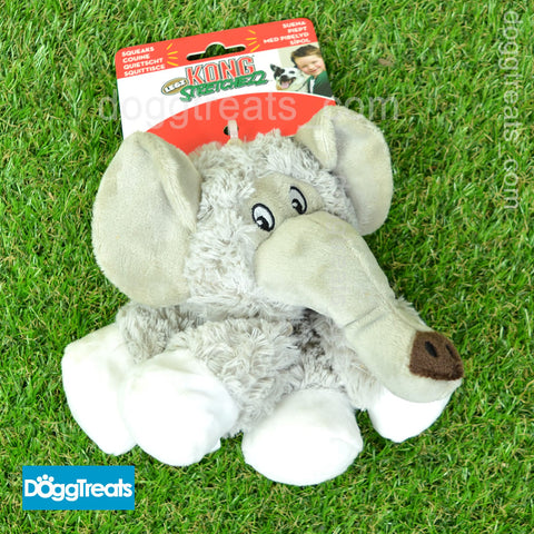 KONG Stretchezz Legz Elephant Small - Plush Dog Toy with Squeaker and Crinkle